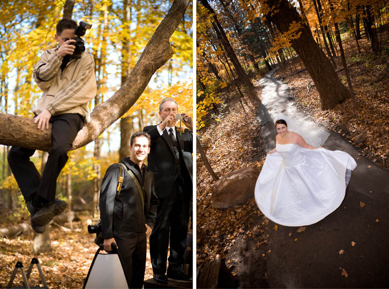 Photographer in a tree shooting a bride in Grand Rapids