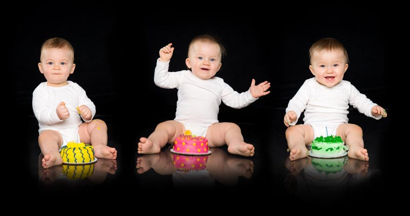 Baby Pictures In Grand Rapids Triplets With Their Birthday Cakes