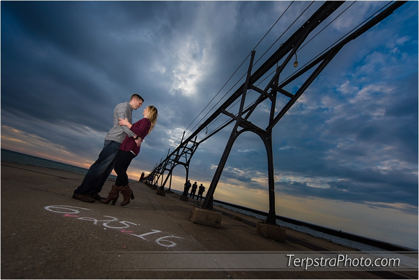 Engaged!  South Haven Pier.